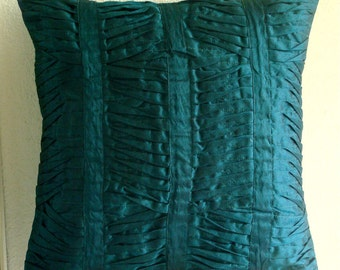 """Luxury  Royal Peacock Green Pillow Cases, Textured Pintucks Solid Color Decorative Pillows Cover Square  18""""x18"""" Silk - Royal Peacock Green"""