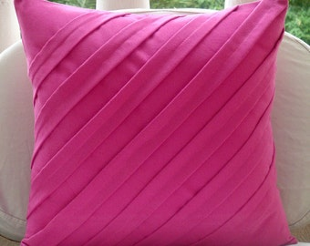 "Fuchsia Pink Pillows Cover,  Square  Textured Pintucks Solid Color 16""x16"" Faux Suede Pillows Cover - Contemporary Fuchsia"
