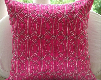 "Handmade Fuchsia Pink Decorative Pillows Cover, 16""x16"" Silk Pillowcase, Square  Lattice Trellis Pillows Cover - Fuchsia N Silver"