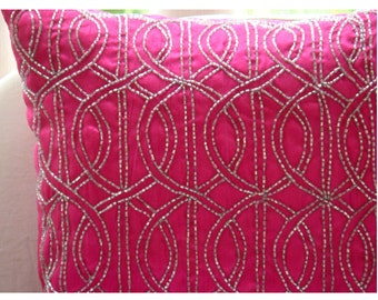 Fuchsia N Silver  - Throw Pillow Covers - 18x18 Inches Silk Pillow Cover Embroidered with Silver Beads