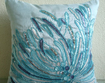 "Blue Decorative Pillow Cover, 16""x16"" Silk Pillows Cover, Square  Aqua Sequins And Beaded Beach And Ocean Theme Pillows Cover - Water Burst"