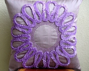 "Purple Decorative Pillows Cover,  Square  Ribbon Flower Medallion Floral Theme 16""x16"" Silk Throw Pillows Cover - Purple Blossom"