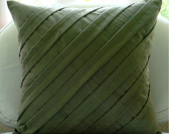 Contemporary Olive - Throw Pillow Covers - 20x20 Inches Suede Pillow Cover in Olive