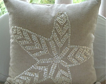 "Handmade  Ecru Pillow Cases, Starfish Ocean And Beach Theme Pillows Cover 18""x18"" Cotton Linen Pillows Covers For Couch - Starfish Pearls"