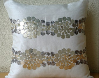 """Designer Ivory Throw Pillows Cover, 16""""x16"""" Silk Pillows Cover, Square  Metal Sequins Throw Pillows Cover - Silver And Gold"""