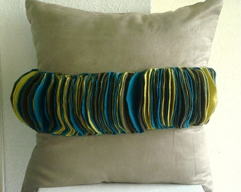 Teal Twit  - Pillow Sham Covers - 24x24 Inches Felt Pillow Sham Cover in Lime, Teal and Dark Olive