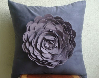 """Luxury  Purple Pillows Cover, Rose Flower Floral Theme Pillows Cover Square  18""""x18"""" Faux Suede Pillows Covers For Couch - Plum Rose"""
