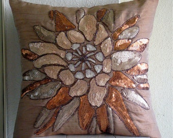 """Designer Brown Throw Pillow Covers, 16""""x16"""" Silk Pillow Covers, Square  Sequins & Beaded Flower Floral Theme Pillows Cover -Spark Attraction"""