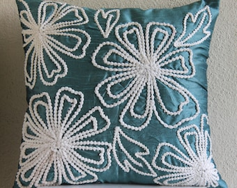 Snowy Blooms - Pillow Sham Covers - 24x24 Inches Silk Pillow Cover with Lace Embroidery