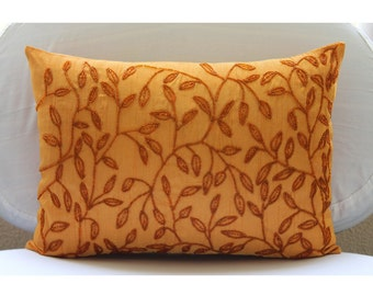 Decorative Oblong / Lumbar Rectangle Throw Pillow Covers Accent Pillow Couch Sofa 12x16 Orange Silk Pillow Cover Embroidered with Bead Juicy