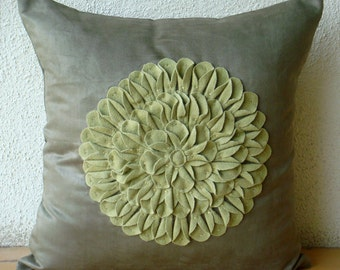 """Designer Green Pillow Cases, 16""""x16"""" Faux Suede Throw Pillows Cover, Square  Dahlia Flower Floral Theme Pillows Cover - Green Dahlia"""