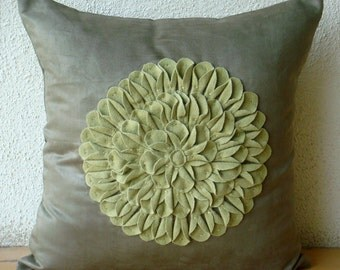 "Designer  Green Pillow Cases, Dahlia Flower Floral Theme Pillows Cover Square  18""x18"" Faux Suede Throw Pillows Cover - Green Dahlia"