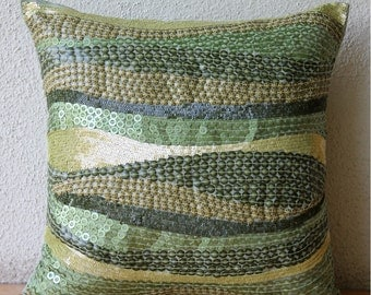 Eco Friendly - Pillow Sham Covers - 24x24 Inches Silk Pillow Sham Cover with Embroidery and Textured Sequins