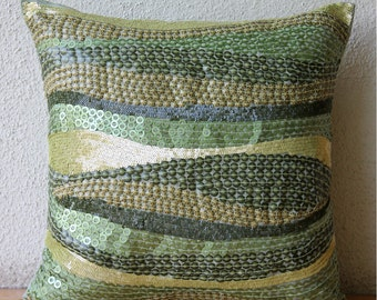"""Luxury Green Accent Pillows, 16""""x16"""" Silk Pillows Cover, Square  3D Sequins Ombre Botanical Pillows Cover - Eco Friendly"""