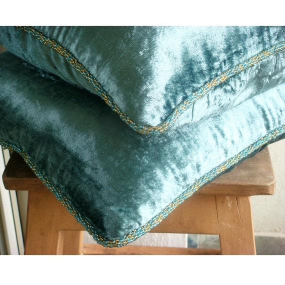 teal shimmer 16 x 16 inches velvet pillow cover with. Black Bedroom Furniture Sets. Home Design Ideas