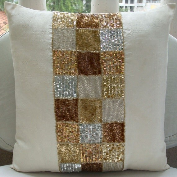 """Handmade Ivory Pillow Cases, 16""""x16"""" Silk Throw Pillows Cover, Square Metallic Sequins & Beaded Pillows Cover - Alice In Wonderland"""