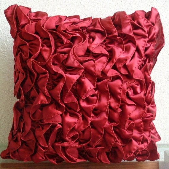 """Handmade Red Accent Pillows, 16""""x16"""" Satin Pillow Covers, Square  Vintage Style Ruffles Shabby Chic Throw Pillows Cover - Vintage Rubys"""