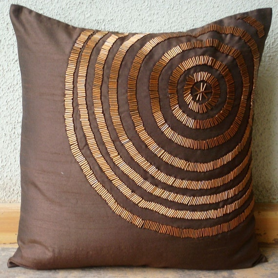 """Luxury Brown Decorative Pillows Cover, 16""""x16"""" Silk Throw Pillows Cover, Square  Spiral Pipe Beads Pillows Cover - Magical ILLusion"""