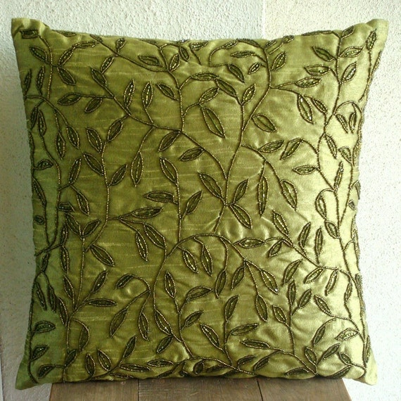 Tropical  - Throw Pillow Covers - 16x16 Inches Silk Pillow Cover with Bead Embroidery