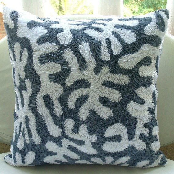 Decorative Pillow Covers Accent Pillows Couch Toss Bed 16x16 Inch Silk Pillow Cover Ribbon Embroidered Home Decor Living Bedding Coral White