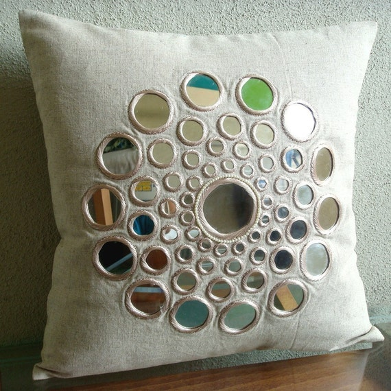 Circle Of Life - Euro Sham Covers - 26x26 Inches Cotton Linen Euro Sham Cover with Mirror Embroidery
