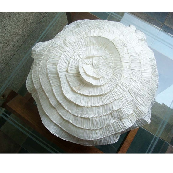 Vintage Ruffles Throw Pillow Covers 24 Inches Round Silk