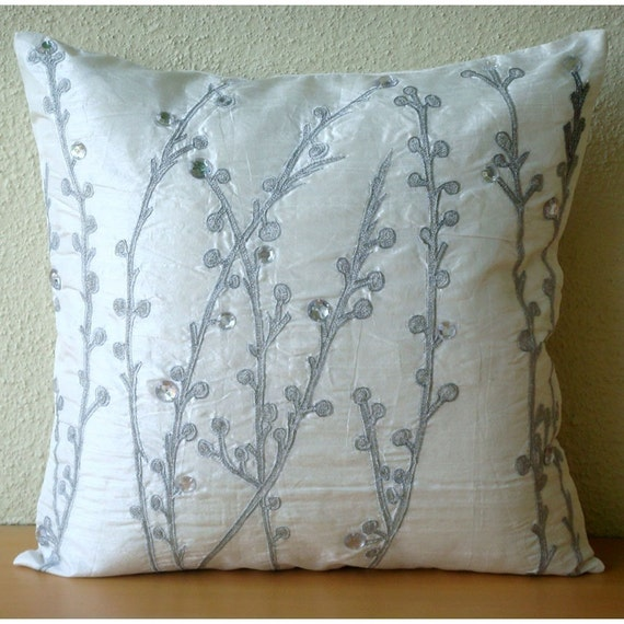Crystal Willow - Throw Pillow Covers - 18x18 Inches Silk Pillow Cover with Embroidery and Crystals