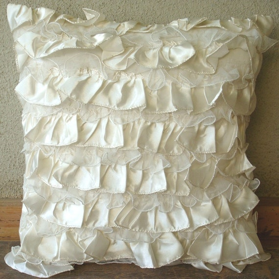 Decorative Throw Pillow Covers Couch Pillow Case Sofa Pillows Bed Toss Pillows 18x18 Ivory Satin & Net Ruffle Pillow Cover Vintage Heaven