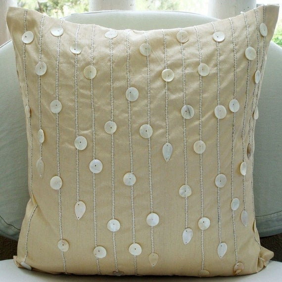 Decorative Pillow With Pearls : Ivory Pearls Throw Pillow Covers 20x20 Inches Silk Pillow