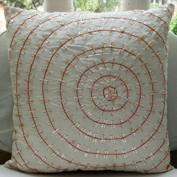 """White Throw Pillow Covers, 16""""x16"""" Silk Throw Pillows Cover, Square  Spiral Mother Of Pearls Throw Pillows Cover - The Wheel Of Pearls"""