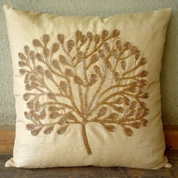 The Gold Tree - Euro Sham Covers - 26x26 Inches Silk Euro Sham Cover with Bead Embroidery