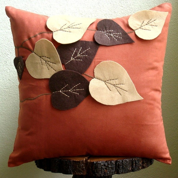 Spring Leaves - Throw Pillow Covers - 20x20 Inches Suede Pilllow Cover with Felt Embroidery