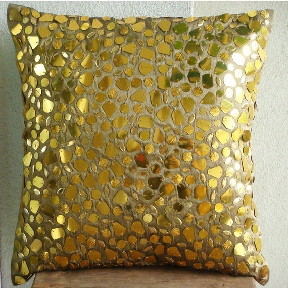 The Gold Mosaic - Euro Sham Covers - 26x26 Inches Silk Euro Sham Cover with Gold Accents