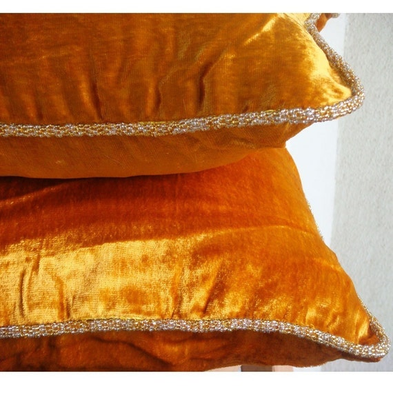 luxury orange yellow pillows cover solid color beaded cord. Black Bedroom Furniture Sets. Home Design Ideas