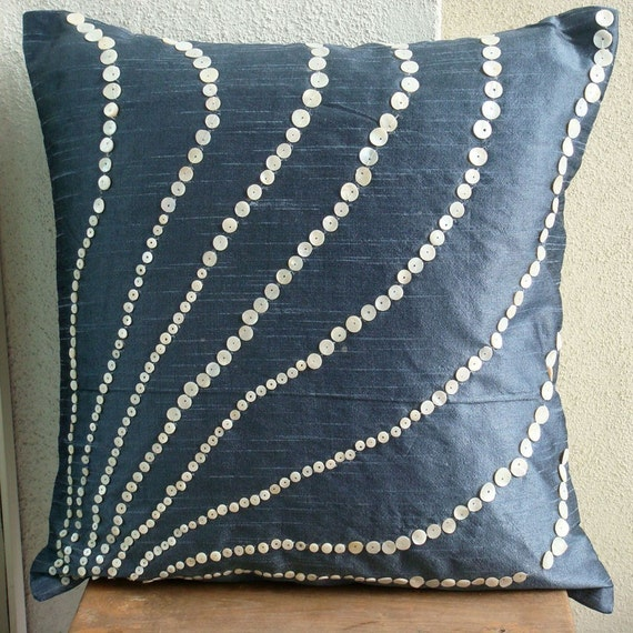 Decorative Pillow Sham Covers Accent Pillow Couch 24 Inch Silk Pillow Mother Of Pearl Embroidered Blue Moon Home Decor Living Housewares