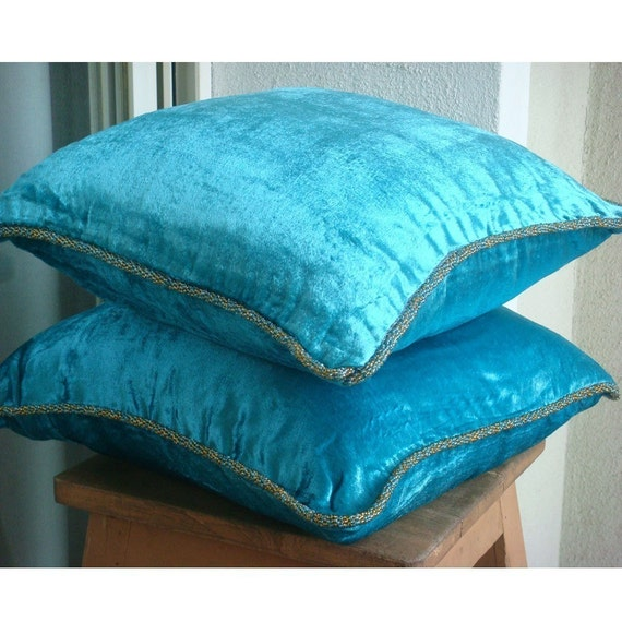 luxury turquoise blue pillow cases 16x16 velvet