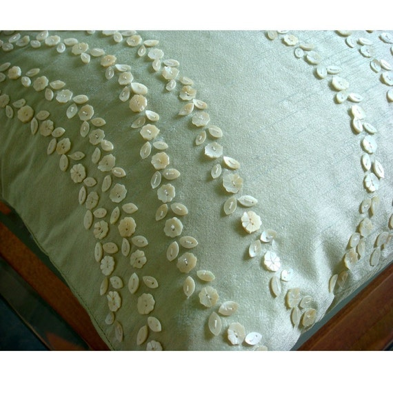 Blossoms Blown - Euro Sham Covers - 26x26 Inches Silk Euro Sham Cover with Mother Of Pearl