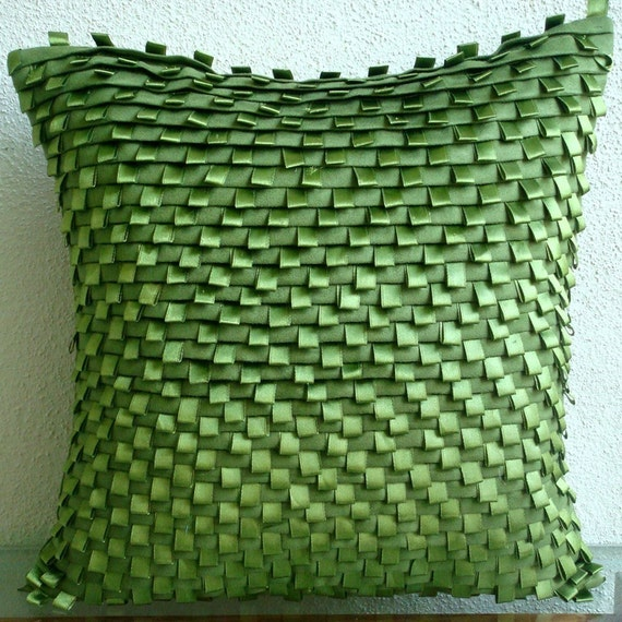 Decorative Throw Pillow Covers Accent Pillow Couch Toss Pillow 20 Inch Suede Pillow Cover Pintucks Satin Ribbon Home Living Decor Go Green