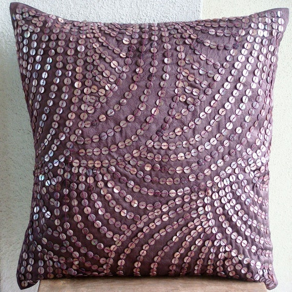 Creeping Vines - Euro Sham Covers - 26x26 Inches Silk Euro Sham Cover with Wine color Mother of Pearl
