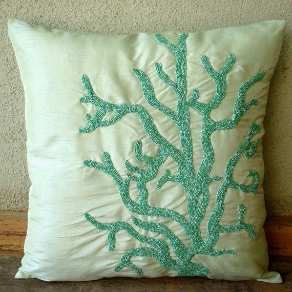 I Love Corals - Pillow Sham Covers - 24x24 Inches Silk Pillow Sham Cover with Shaded Beads