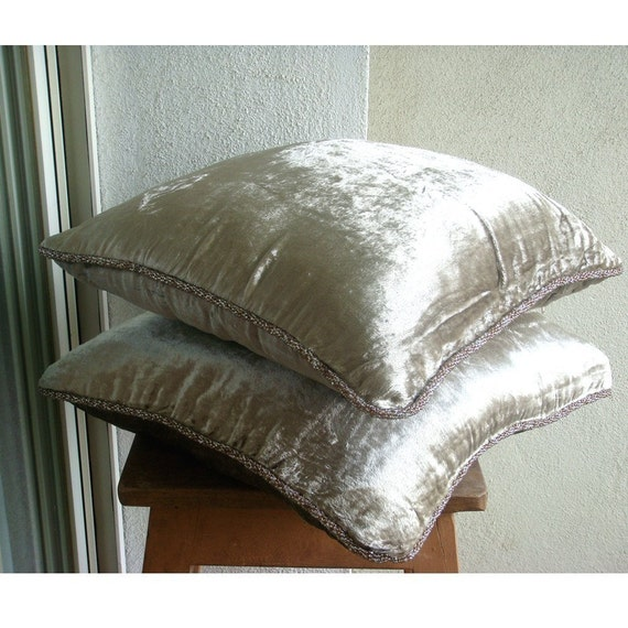 """Luxury  Pearl Pillows Cover, Solid Color Beaded Cord Pillows Cover Square  18""""x18"""" Velvet Pillow Covers - Pearl Shimmer"""
