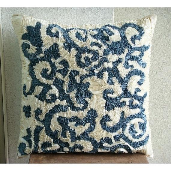 "Handmade Teal Blue Throw Pillows Cover, 16""x16"" Silk Pillows Cover, Square  Abstract Ribbon Pillows Cover - Teal Ribbons"