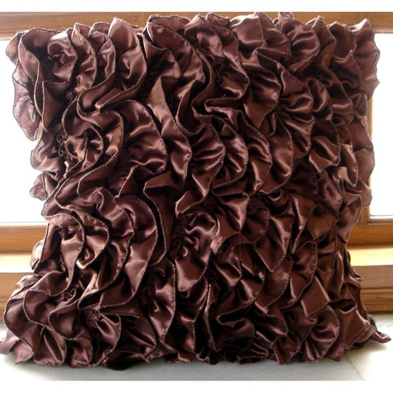 Vintage Browns -  Pillow Sham Covers - 24x24 Inches Satin Pillow Sham Cover with Brown Satin Ruffles
