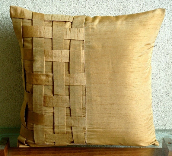 Gold Brown Bricks - Pillow  Sham Covers - 24x24 Inches Silk Pillow Cover with Basket Weave