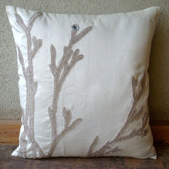 handmade white throw pillows cover metallic beaded willow