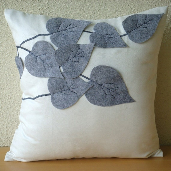 "White Decorative Pillows Cover,  Square  Leaf Felt Applique Tropical Theme 16""x16"" Faux Suede Throw Pillows Cover - Winter Leaves"