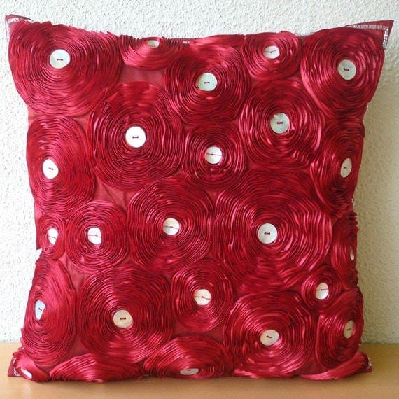Bed Of Roses - Pillow Sham Covers 24x24 Inches Silk Dupioni with Satin Embroidery