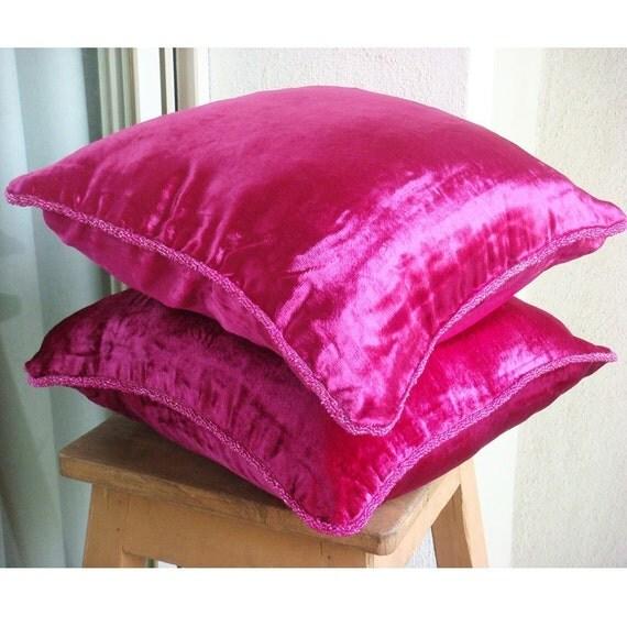 Decorative Throw Sham Covers Accent Sham Couch Sham Bed Toss Sofa Sham Covers 24 x 24 Fuchsia Velvet Pillow Case with Bead Cord Fuchsia Love