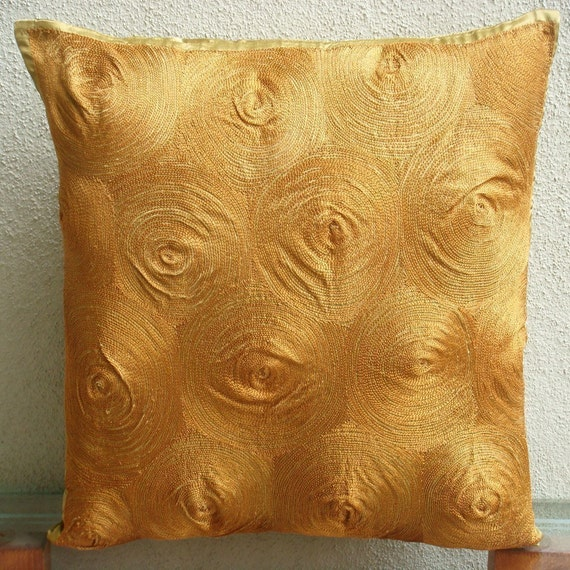 "Handmade Gold Throw Pillows Cover For Couch, 16""x16"" Satin Throw Pillows Cover, Square  Embroidered Spiral Pillows Cover - Magical Threads"