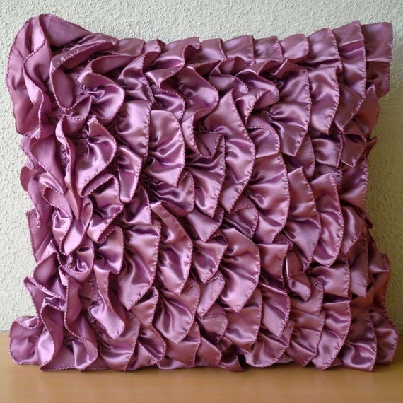 "Purple Accent Pillows,  Square  Vintage Style Ruffles Shabby Chic 16""x16"" Satin Pillows Covers For Couch - Vintage Vines"